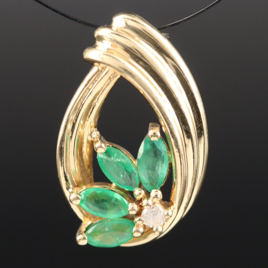 14K Emerald and Diamond Slide Pendant with Floral Design