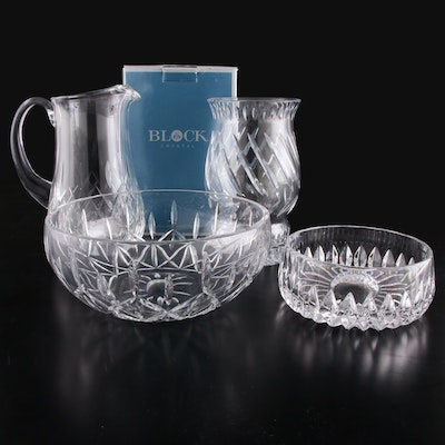 Block and Other Crystal Bowls, Candle Hurricane, and Pitcher, Late 20th Century