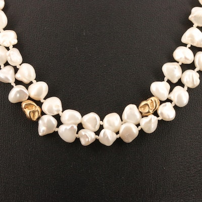 Baroque Pearl Continuous Necklace with 14K Accent Beads