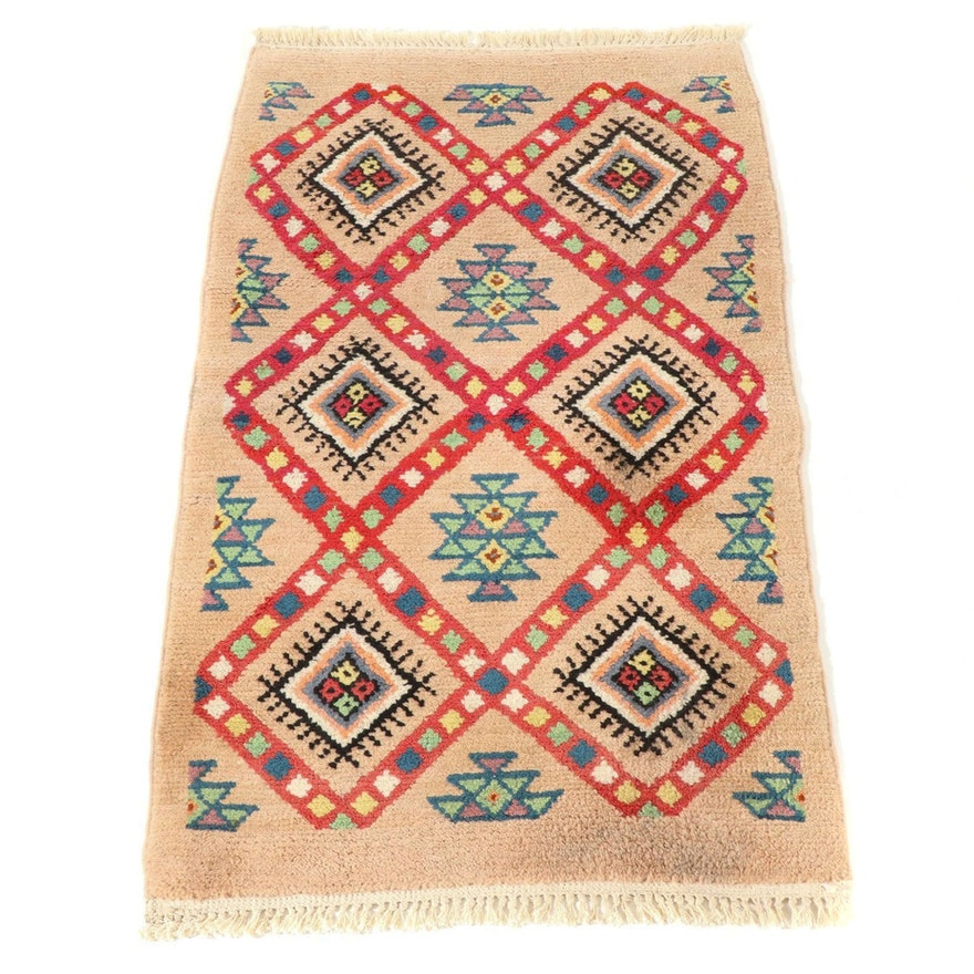 2'2 x 3'8 Hand-Knotted Moroccan Accent Rug, 1970s