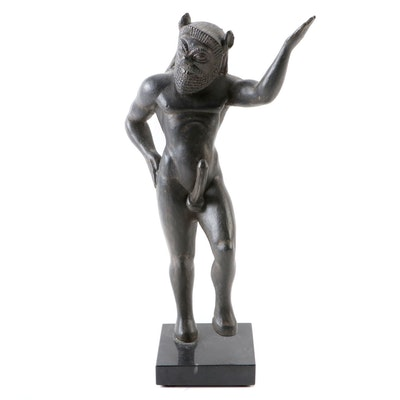 Cast Resin Figurine after Greek Sculpture of Satyr Silenus, Late 20th Century