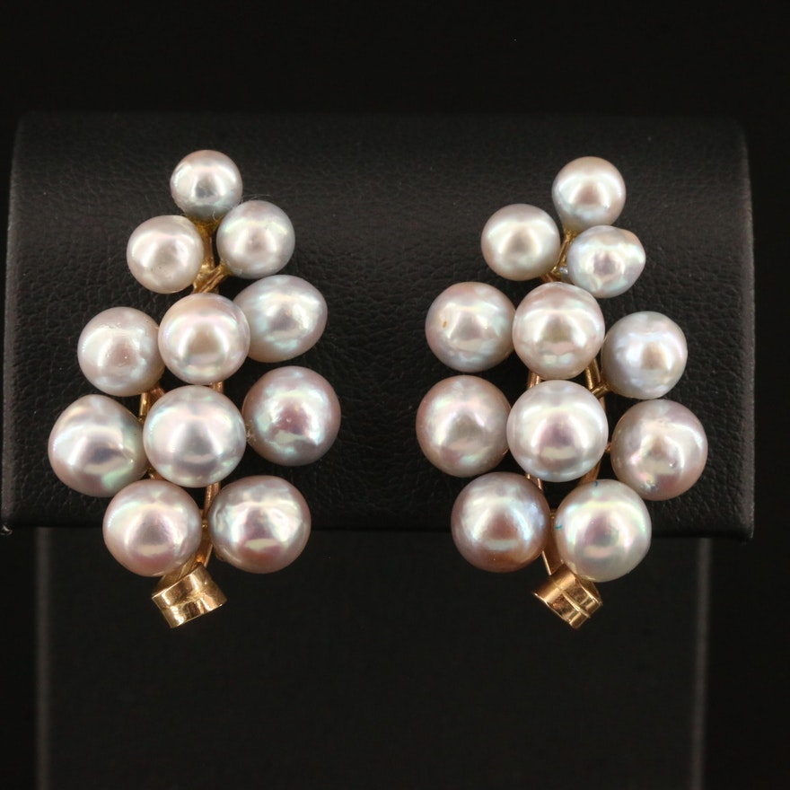 14K Semi-Baroque Pearl Grape Cluster Clip Earrings
