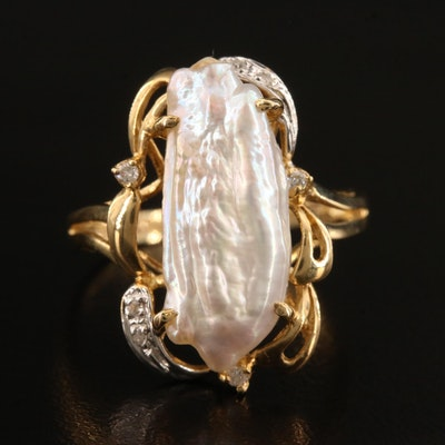 14K Baroque Pearl and Diamond Ring