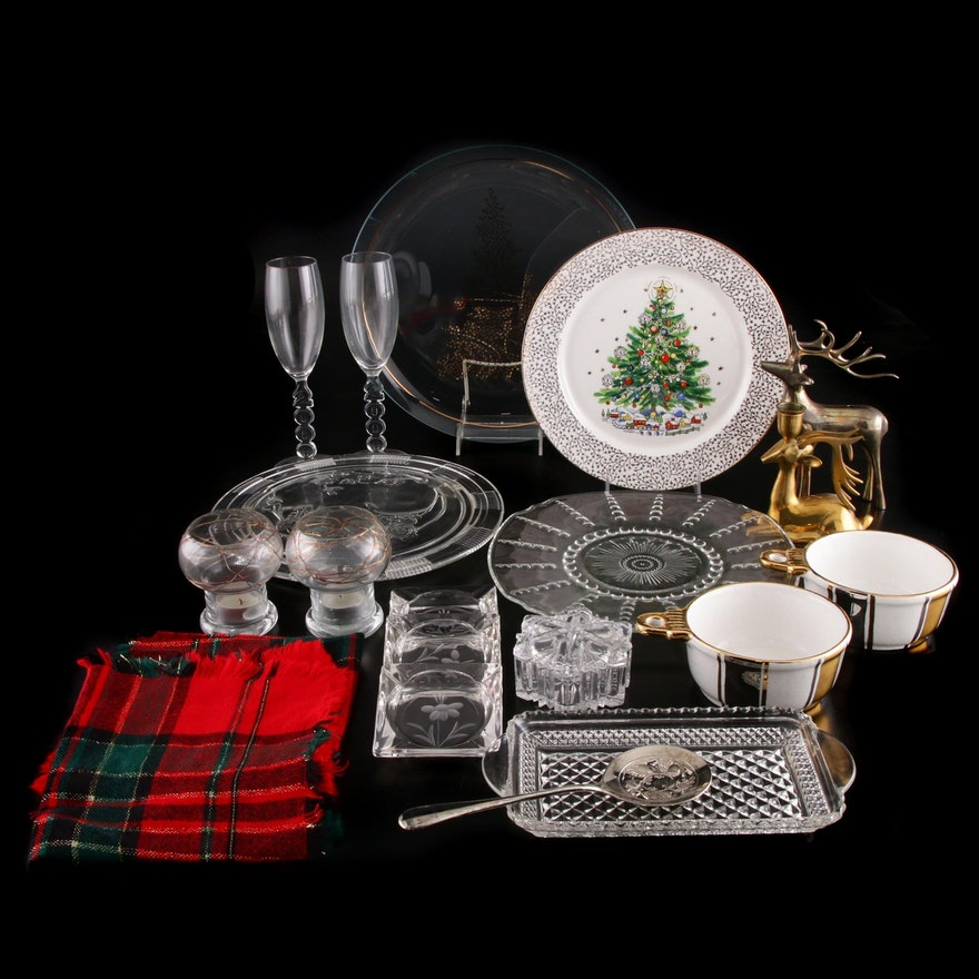 Leonard Crystal Cranberry Set, Partylite Candle Holders, and Holiday Plates