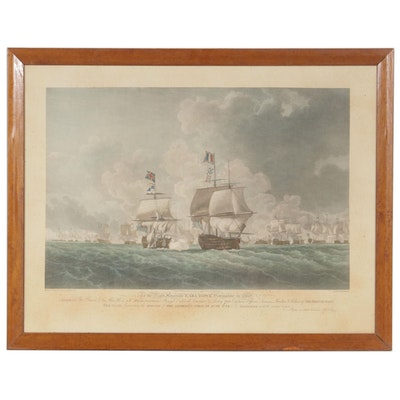 """Etching after Robert Cleveley """"Morning of the Glorious First of June, 1794"""""""