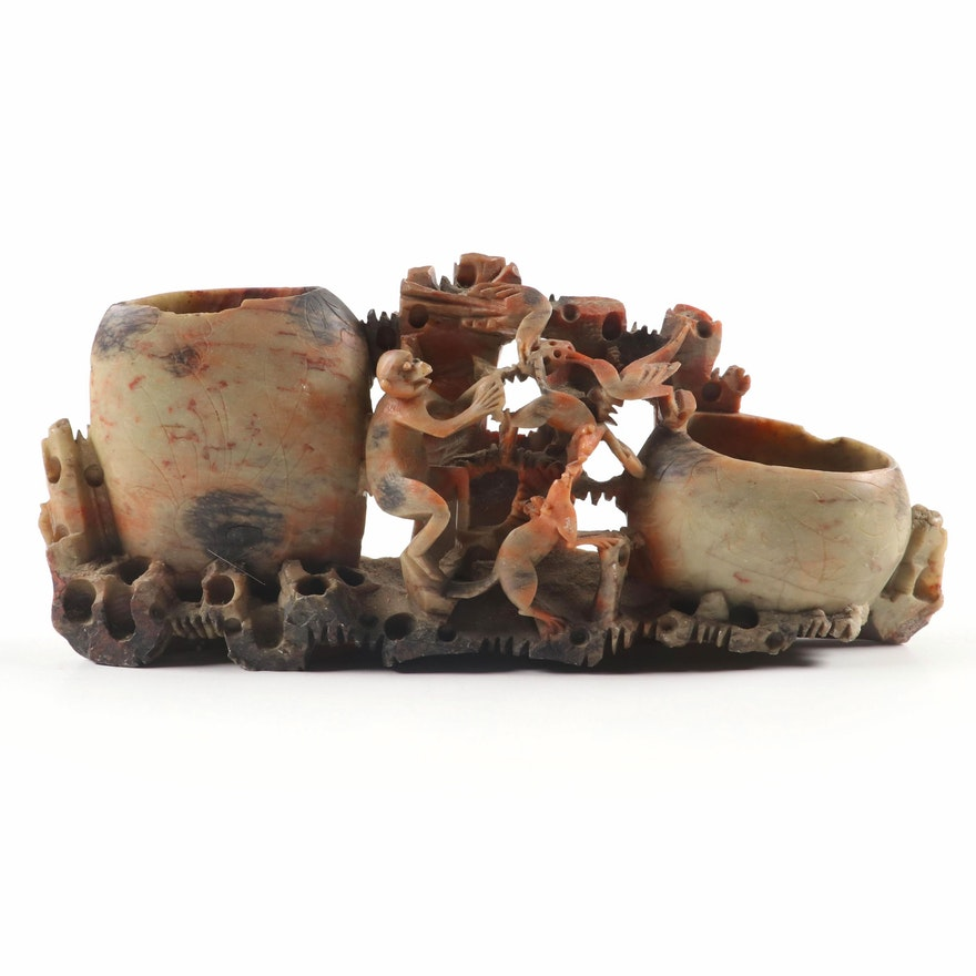 Chinese Style Carved Soapstone Brush Pot