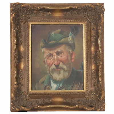 Oil Painting of Bavarian Hunter Portrait, Late 20th Century