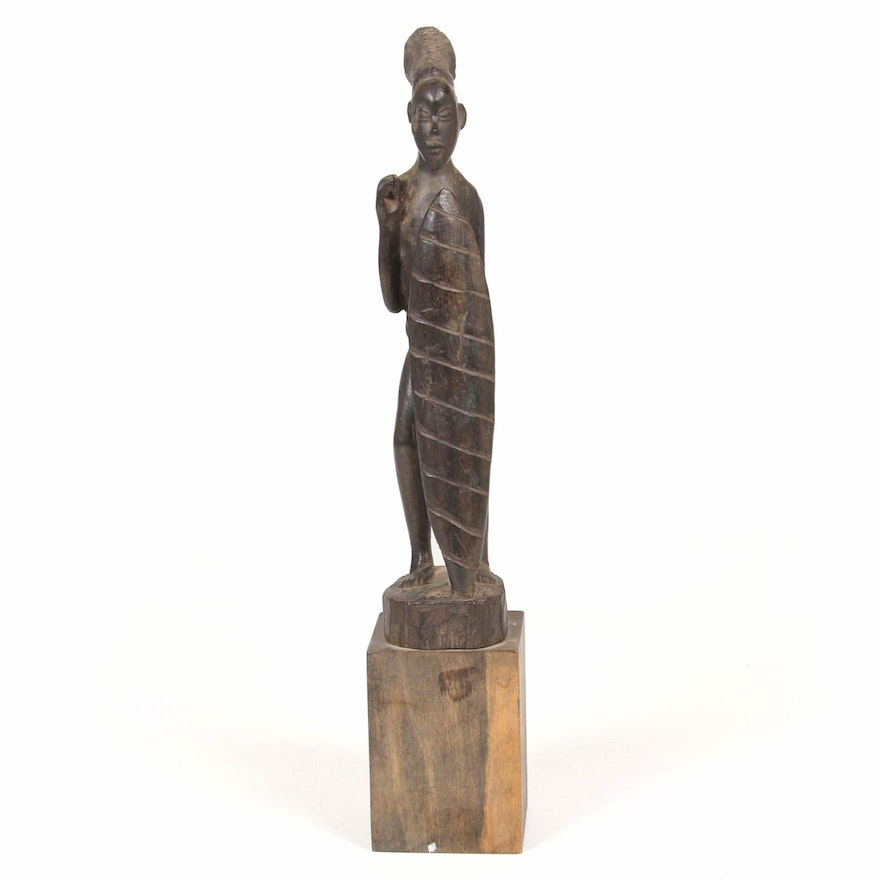 Yombe Inspired Hand-Carved Wood Warrior Sculpture