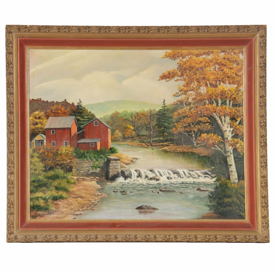 Oil Painting of Rural Riverscape