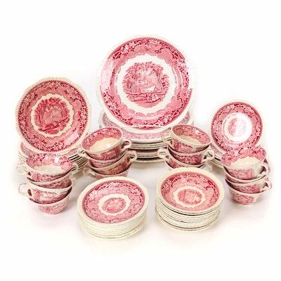 "Mason's ""Vista"" Pink Ironstone Dinnerware, Mid 20th Century"