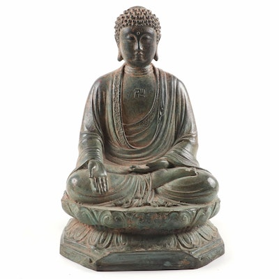 Patinated Japanese Iron Seated Buddha with Wan Symbol