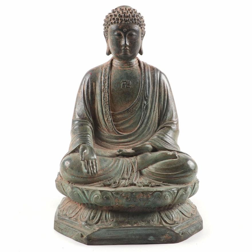 Patinated Japanese Iron Seated Buddha with Wan Symbol