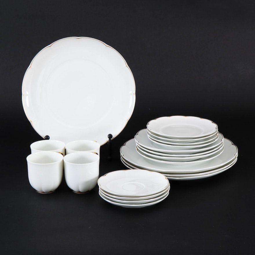 "Côte d'Or Limoges France ""Block"" Porcelain Dinnerware, Late 20th Century"