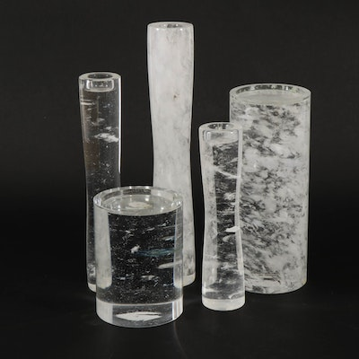 Crystal Candle Pillars and Vase from Baker Furniture, Contemporary