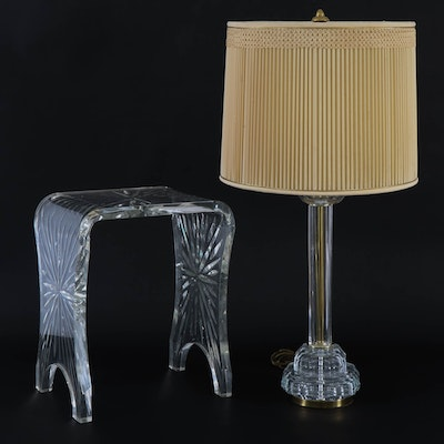 Glass Column Table Lamp and Acrylic Stool, 20th Century