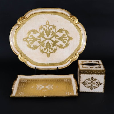 Sezzantini for Frontgate Florentine Gilt Wood Vanity Tray and Other Accessories