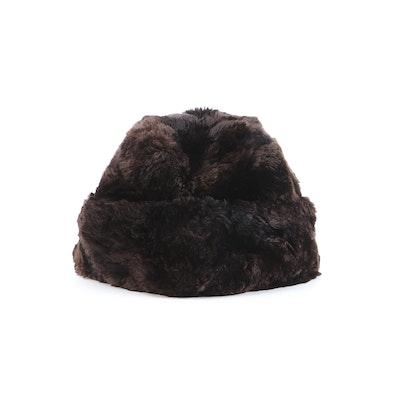 Brooks Brothers Dyed Sheared Beaver Fur Winter Hat with Ear Flaps