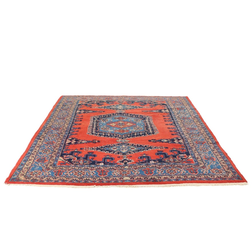 8'6 x 11 Hand-Knotted Persian Vies Rug, 1970s