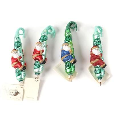 """Patricia Breen Designs """"Santa and the Beanstalk"""" Ornaments, 1990s"""