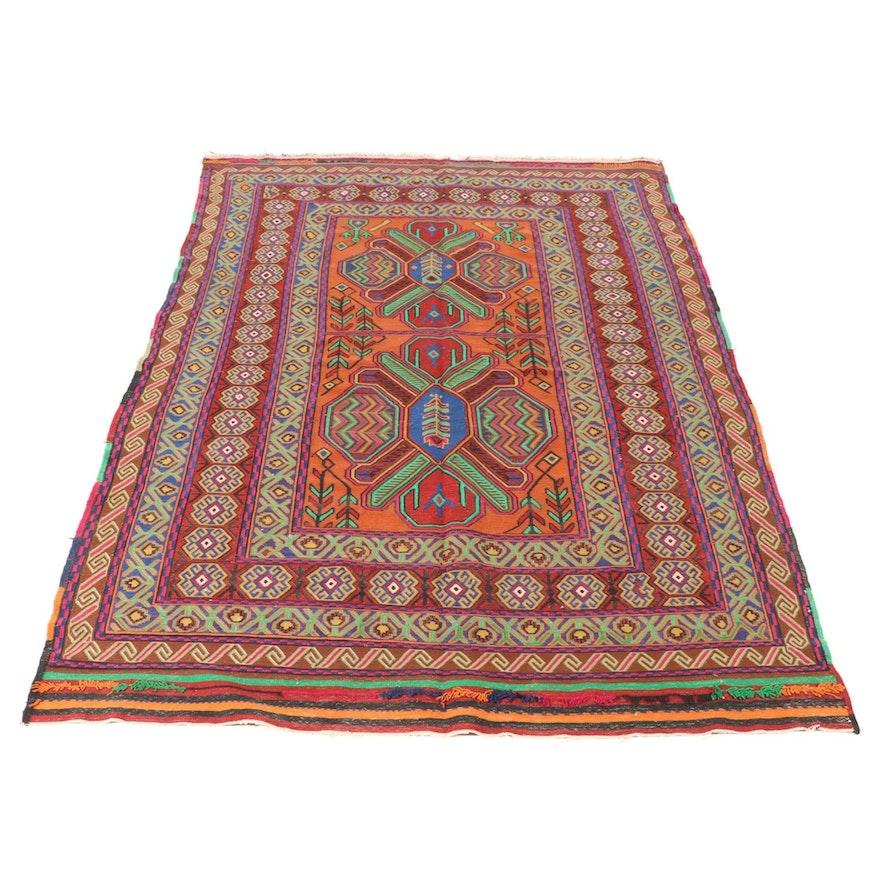 5'2 x 8'9 Persian North-West Persian Soumak Kilim Floral Rug, 1920s
