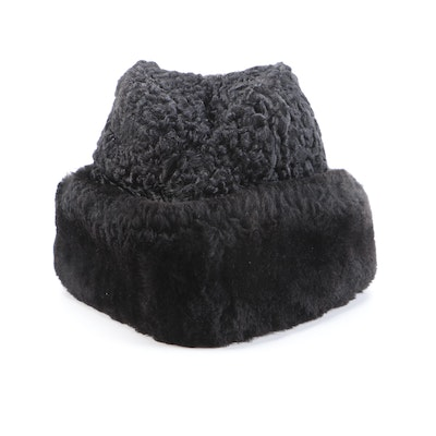 North King Black Dyed Persian Lamb and Mouton Fur Winter Hat with Ear Flaps
