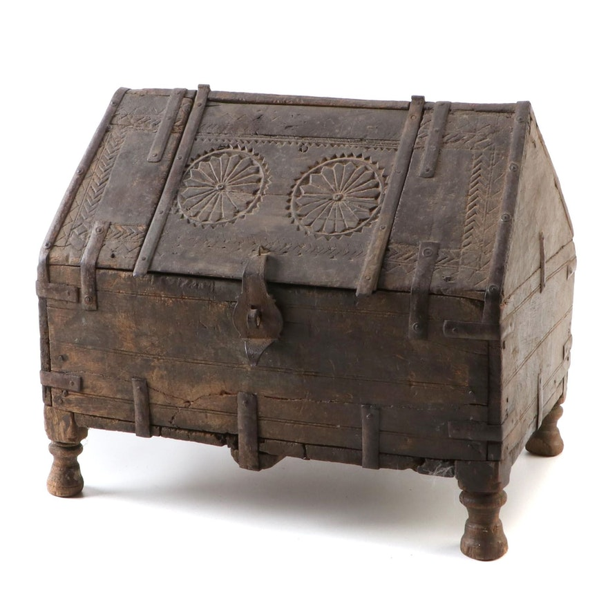 Indian Hand Carved Wood and Metal Dowry Chest