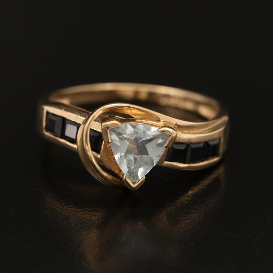 10K Aquamarine Ring with Channel Set Sapphire Shoulders