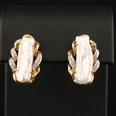 14K Baroque Pearl and Diamond Earrings