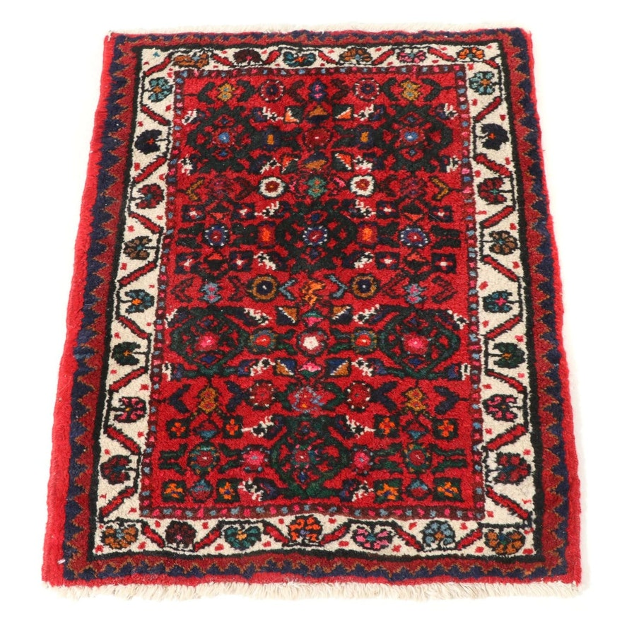 2'1 x 2'9 Hand-Knotted Persian Zanjan Floral Accent Rug, 1960s