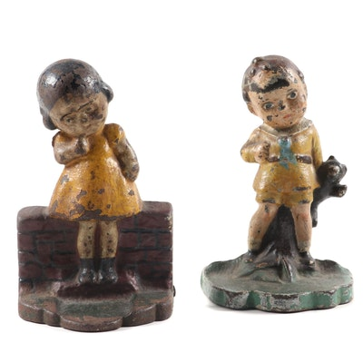 Cold Painted Cast Iron Bookends of Children, Early to Mid-20th Century