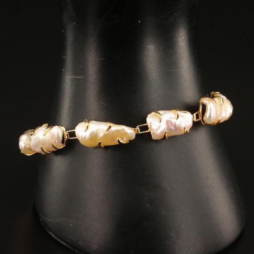 14K Baroque Pearl Link Bracelet