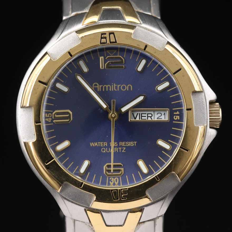 Armitron Day-Date Two Tone Quartz Wristwatch