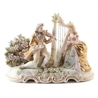Ardalt Artware French Rococo Style Porcelain Music Box, Mid-20th Century