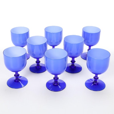 Carlo Moretti Blue Cased Wine Glasses, Mid-20th Century