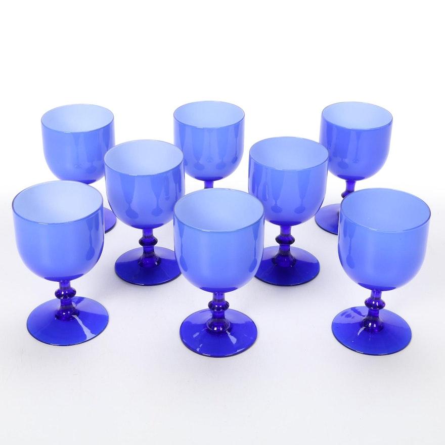 Carlo Moretti Blue Cased Wine Glasses, Mid-20th Century