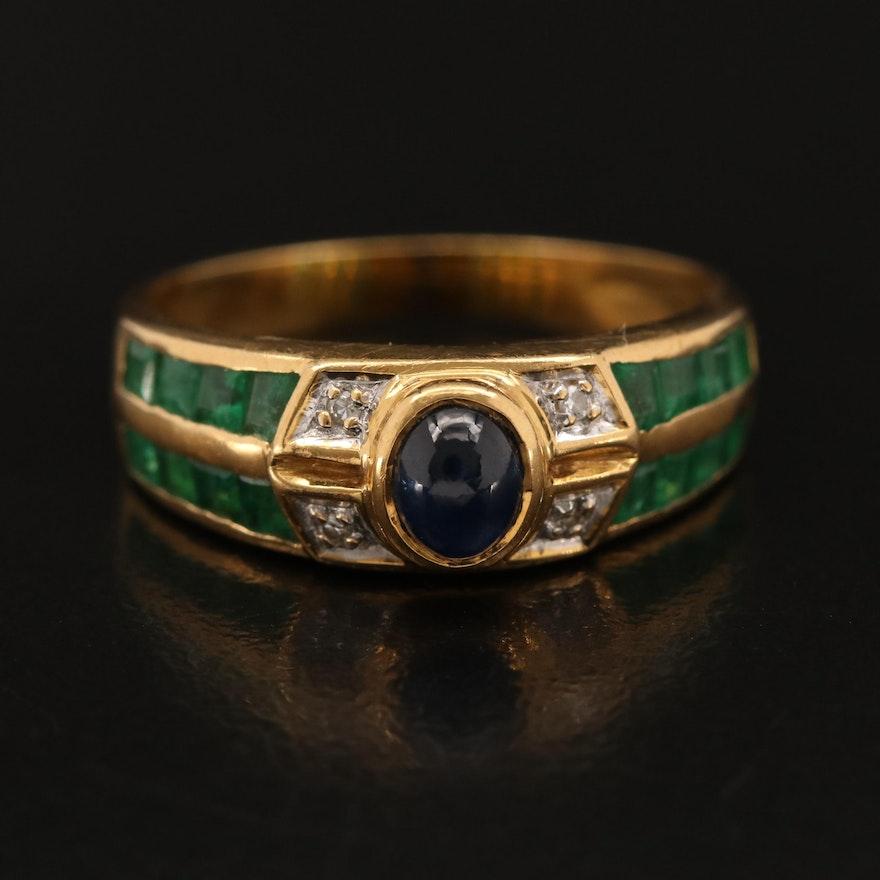 18K Sapphire, Diamond and Emerald Band