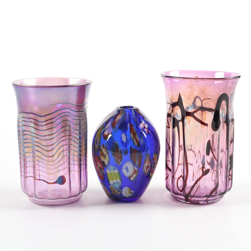 Iridescent Art Glass Vases and Millefiori Art Glass Bud Vase