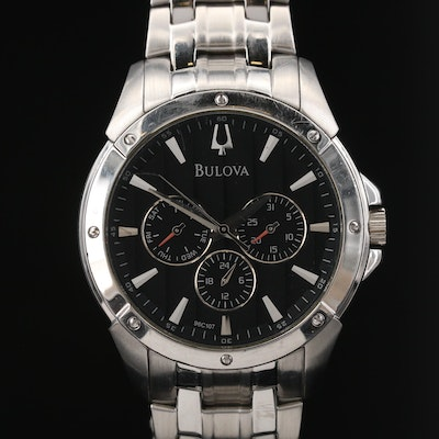 Bulova Day Date Stainless Steel Quartz Wristwatch