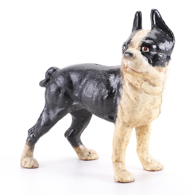 Cold Painted Cast Iron Boston Terrier Coin Still Bank