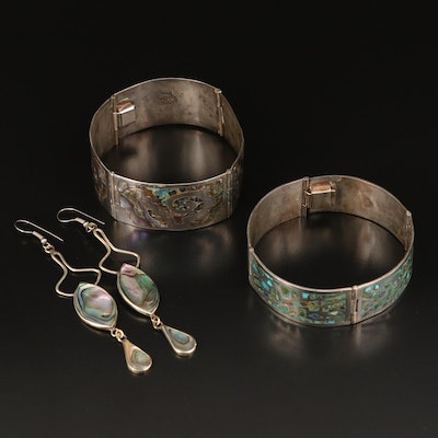 Mexican Panel Bracelets and Alpaca Earrings Including Abalone and Turquoise