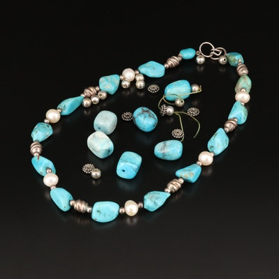 Sterling Silver Turquoise, Pearl and Magnesite Beaded Necklace with Loose Beads