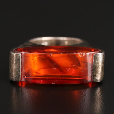 Sterling Amber Bar Ring