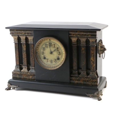 New Haven Clock Co. Wood and Brass Mounted Mantle Clock, Early 20th Century