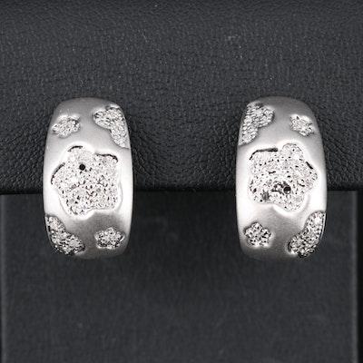 18K Diamond Flower J Hoop Earrings