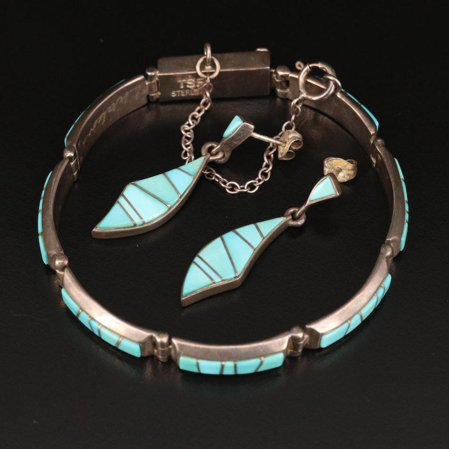 Earl Plummer Navajo Diné Sterling Earrings with Signed L. Watson Link Bracelet