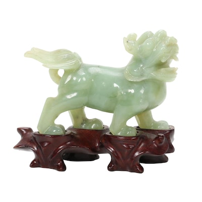 Chinese Nephrite Jade Carved Guardian Lion Figurine on Wooden Stand
