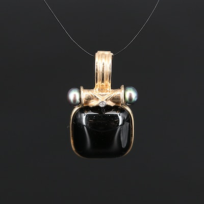 14K Black Onyx, Pearl and Diamond Enhancer Pendant