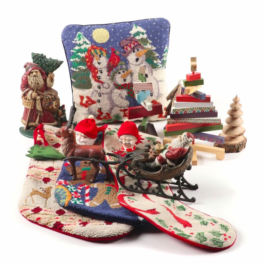 Department 56 Cast Iron Santa Sleigh and Other Christmas Décor