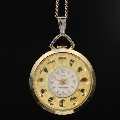 Vintage Spartan Gold Tone Pendant Watch