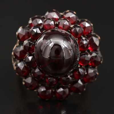 Garnet Tiered Ring with 18K Shank
